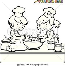 Small Picture Vector Stock Children cooking coloring page Stock Clip Art