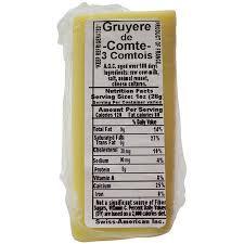 Walmart Deli Nutrition Chart French Comte Gruyere De Comte Deli Sliced Walmart Com