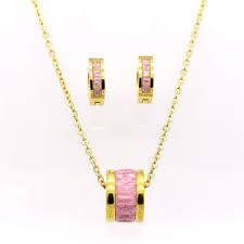 gold color round style necklaces pendants earrings set
