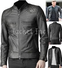 black real leather jacket vintage slim fit genuine new xs 3xl
