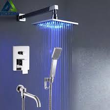 shower led lighting. Modern Wall Mounted Bathroom Square LED Light Rain Shower Mixer Faucet Single Lever Swivel Tub Led Lighting O