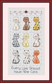 Cross Stitch Color Pattern Nine Cats Sampler