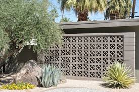 painted breeze block garden wall