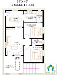140 Sq Meter House Design Floor Plan For 25 X 45 Feet Plot 2 Bhk 1125 Square Feet