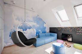 blue hanging chairs for bedrooms. Bubble Shaped Hanging Chair With Cloud Wallpaper For Modern Bedroom Decorating Ideas Soft Blue Leather Sofa Chairs Bedrooms B