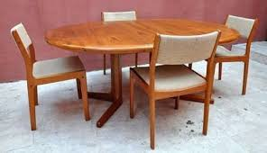650 vine d scan danish modern teak dining set table and four chairs