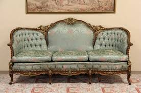 SOLD French Style Carved 1940s Vintage Sofa Original Harp Gallery