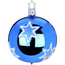 Weihnachtskugel Velvet Star ø 8cm Brillantblau Glänzend Inge Glas Magical Blue Christbaumschmuck