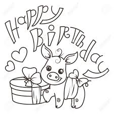 You can press download button or print it right from your browser. Happy Birthday Cute Cartoon Baby Pig With Holiday Box Vector Royalty Free Cliparts Vectors And Stock Illustration Image 103381651