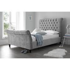 black upholstered sleigh bed. Sienna Sleigh Bed Black Upholstered D