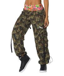 Zumba Army Green Mashed Up Cargo Pants Women