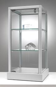low showcase with aluminum frame and adjule glass shelves cm 35x35x70h
