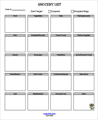 8+ Printable Grocery List Samples | Sample Templates