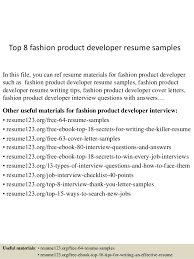 Top 8 fashion product developer resume samples In this file, you can ref  resume materials ...