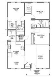 Small Picture Floor Plan for Affordable 1100 sf House with 3 Bedrooms and 2