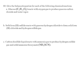 give the balanced equation for each of the following chemical reactions