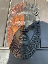vintage ebony wood african tribal mask w small faces wall hanger fertility 1