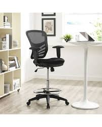 Modway Articulate Drafting Chair In Black - Reception Desk Chair - Tall  Office Chair For Adjustable