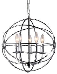 aidee 5 light 16 spherical chandelier chrome
