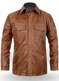 crocodile brown v tab leather shirt jacket