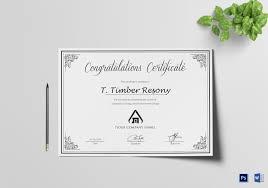 Congratulation Certificate Simple Congratulation Certificate Design Template In Psd Word