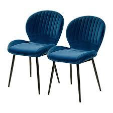 2er Set Daisy Blau Samt Stuhl Vierfußstuhl Esszimmerstuhl Küchenstuhl Sessel 6002490