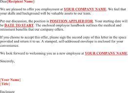 Job Offer Letter Template Word 3 Job Offer Letter Sample Free Download