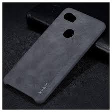 x level vintage leather coated pc mobile case for google pixel 2 xl black