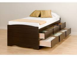 image of twin bed frame with drawers
