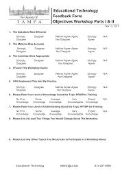 Workshop Feedback Form Objectives Workshop Feedback Form Fredrick W Baker III PhD 1