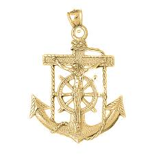 10k 14k or 18k gold mariners cross crucifix pendant