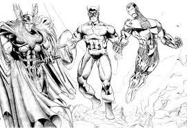 Small Picture Thor and Captain America and Iron Man in The Avengers Coloring