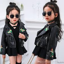 2017 new fashion girls baby girls handsome embroidered leather coat short exquisite models pu leather jacket hip hop jackets girl striped t shirt