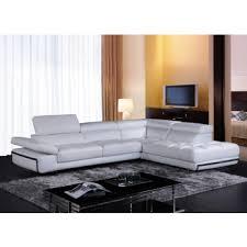 Divani Casa Myst Mini Modern White Eco-Leather Sectional Sofa