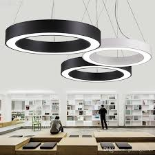 incredible office pendant lighting modern led circle light round suspension hanging lamp ring chandelier stainless steel from uk malaysium idea wear set