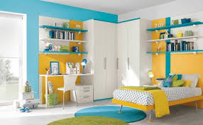 brilliant joyful children bedroom furniture. Blue Yellow And White Bed Sets Wall Shelves Study Table Brilliant Joyful Children Bedroom Furniture