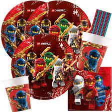 spielum 44-teiliges Party-Set Lego Ninjago - Teller Becher Servietten  Papiertrinkhalme für 8 Kinder: Amazon.de: Spielzeug