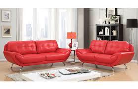 angeline red leather living room set