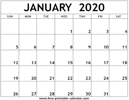 Printable Calendars For 2020 January 2020 Printable Calendar Free Printable Calendar Com
