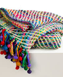 collier campbell blankets colorful pompom fringe throw