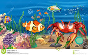 Real underwater world Submerged Undersea Worldit Is Real Underwater World With Crab Coral Fish There Are Growing Algae Beautiful Shells Lie On The Sand Watercolor Illustration Pinterest Undersea Worldit Is Real Underwater World With Crab Coral Fish