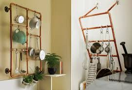 diy industrial styled kitchen rack with copper pipes