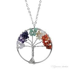 whole women s rainbow amethyst tree of life quartz pendant necklace multicolor tree natural stone necklaces gold pendant necklace heart