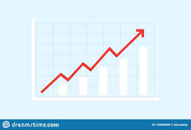 Abstract Financial Bar Chart With Red Uptrend Line Arrow