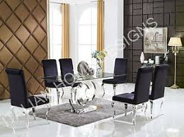 Glass top dining tables Rectangle Glass Image Is Loading Ccmodernglasstopdiningtablewithchrome Ebay Cc Modern Glass Top Dining Table With Chrome Cc Legs And Chairs Ebay