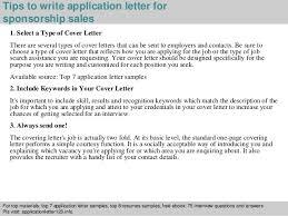 Cover Letter Sponsorship Sponsorship Sales Application Letter
