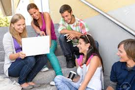 Teens Collage Students Having Fun With Laptop School Stairs Teens College Laughing
