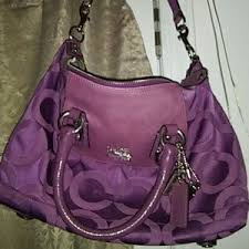 Coach Bags - Coach Signature purple medium shoulder bag EUC