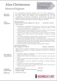 Sample Electrical Engineer Resume Electrical Engineering Resume
