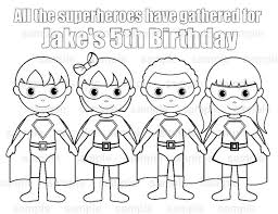 Small Picture Personalized Printable SuperHero boy girl group Birthday Party
